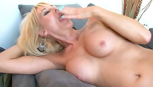 Young horny stud fucks busty aged blondie Erica Lauren in mish and sideways poses tough