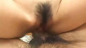 Ai Himeno moans with a big cock in her furry pussy
